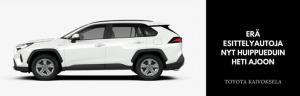 Nyt erä esittelyautoja - heti ajoon Toyota Kaivokselasta. Voit kysyä näistä lisää myyjiltämme CHATissa tai soittamalla p. 010 851 8310  Katso tästä: https://www.ttnordic.fi/yritys/tarjoukset-ja-kampanjat/era-esittelyautoja-heti-ajoon-huippueduin.html