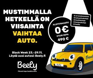 Beely Black week -tarjoukset meiltä vaihtoautoista tämän viikon! Aloitusmaksu 0 €, etusi jopa 490 €. Tsekkaa tästä vaihtoautot T...