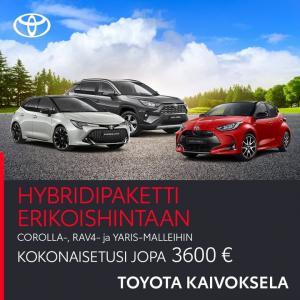 Upea Toyota -mallisto meillä esillä Toyota Kaivokselassa. Tervetuloa tutustumaan ja koeajolle! Nyt kattava hybridipaketti eriko...