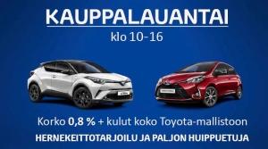 Tervetuloa Kauppalauantaihin huomenna 23.2. klo 10-16. Korko 0,8%+kulut koko Toyota-mallistoon ja paljon muita huippuetuja. Hernekeittotarjoilu! Tutustu lisää tästä: https://www.ttnordic.fi/yritys/ajankohtaista/kauppalauantai.html Ystävällisin terveisin, Toyota Kaivoksela