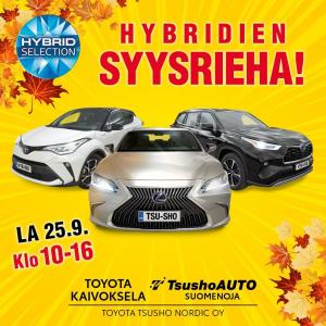✨Hybridien syysriehaa Toyota Kaivokselassa lauantaina✨  Poikkea kahville ☕️ ja koeajolle. Kaikille koeajajille yllätysla...